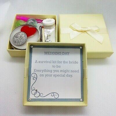PERSONALISED box horseshoe bridal WEDDING gift BRIDE SURVIVAL KIT sixpence