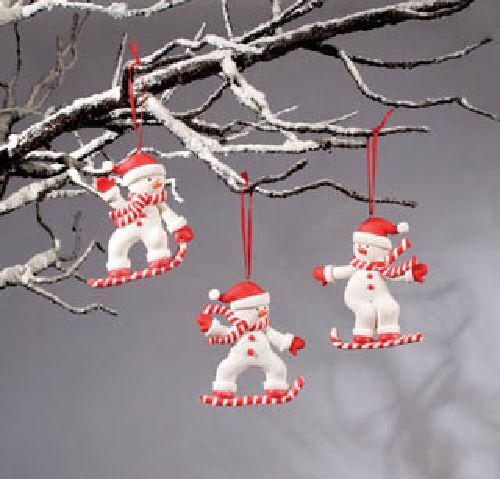 Candy Cane Snow Skiers Ornaments 3 Piece Christmas Party Favor