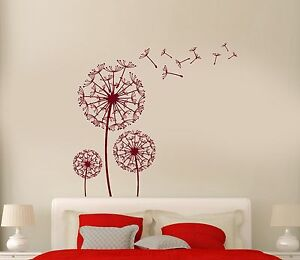 Wall Vinyl Decal Dandelion Flower Floral Romantic Love Bedroom Mural