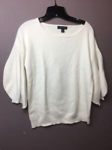 NWT Ann Taylor White Sweater Cotton Blend 3/4 Bouffant Sleeves with Box Size M