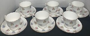 Staffordshire-Bouquet-Fine-Bone-China-Tea-Cup-and-Saucers-England-Set-of-6