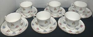 Staffordshire Bouquet Fine Bone China Tea Cup and Saucers England Set of 6