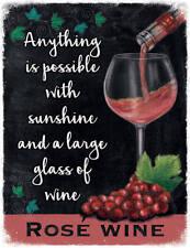 Rosé Glas Wein Drink Pub Bar Küche Old Werbe Mittleres Metall/Zinn-zeichen
