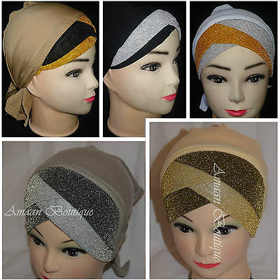 Eid Muslim Hijab Shiny Under Scarf Turban Inner Plain Hat Cap Bonnet Headscarf