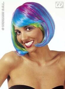 Multi Colore Neon Blu Bob Parrucca Cyber Nu Rave spazio FANCY DRESS  </span>