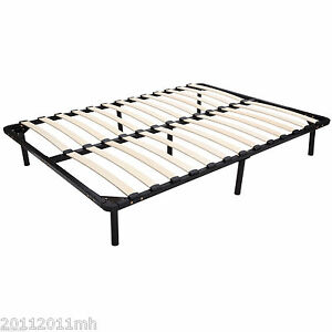 HOMCOM-53-x-74-034-Full-Double-Size-Solid-Wood-Steel-Platform-Slat-Bed-Frame