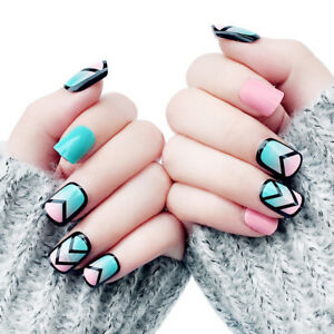 24pcs-Fake-Nails-Art-Tips-Acrylic-Nail-False-French-Artificial-Full-Nail-BP