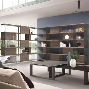 Dettagli su BYBLOS9 libreria angolare DESIGN moderno da soggiorno in vetro  e laminato