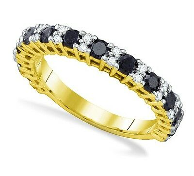 New Look! 100% 10K Yellow Gold Black & White Diamond Band 1.09ct