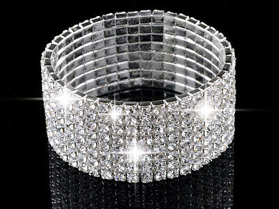 1-8rows Clear Crystal Rhinestone Lady Wedding Stretch Bangle Bracelet Jewelry