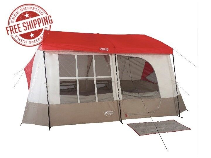 Wenzel Kodiak 12 x 14 9 Person Family Cabin Style Camping Tent w  divider, Red