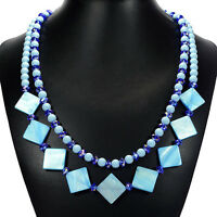 Aqua Blue Freshwater Shell Statement Necklace Handcrafted Jewellery Uk Gift Idea