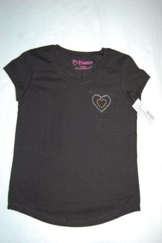 Girls Tee Shirt BLACK Stud Heart Pocket XS 4-5 S 6-6X M 7-8 L M 10-12 XL 14-16