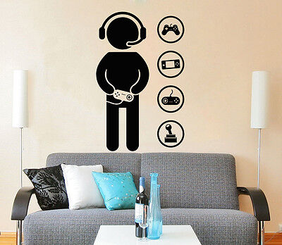 Gamer Wall Decals Game Controllers Gaming Video Game Boy Room Gift Nursery ZX125