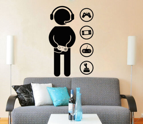 Gamer Wall Decals Game Controllers Gaming Video Game Boy Room Gift Nursery ZX127
