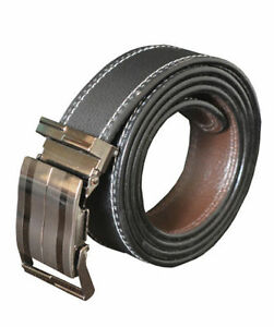 Non leather men black auto lock buckle belt with self textured at good price
