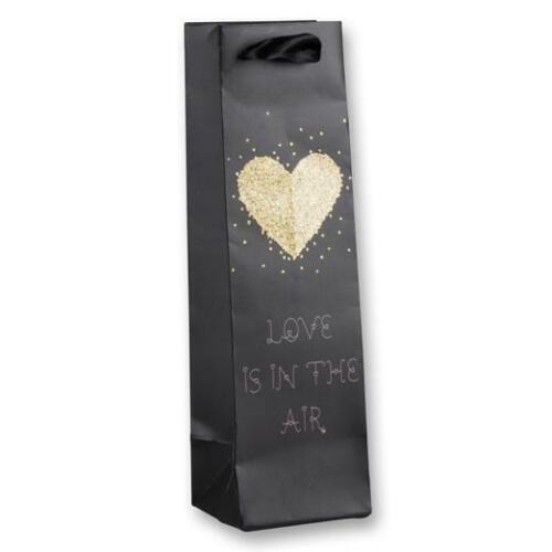 AMSINCK /& SELL 6748 Flaschentasche Goldherz Papier matt schwarz und gold