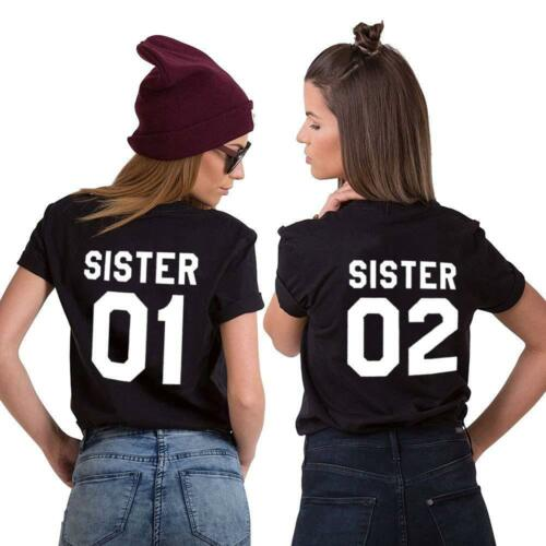 "Best Friends BFF FREUNDINNEN Besties Damen T-Shirt Shirts im Set /""SISTER 01 02/"""