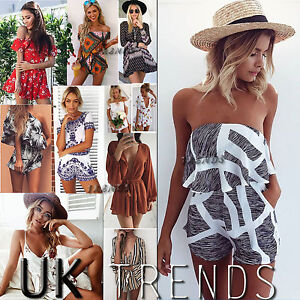 f1897ab16dbf Image is loading UK-Womens-Holiday-Mini-Playsuit-Ladies-Jumpsuit-Summer-