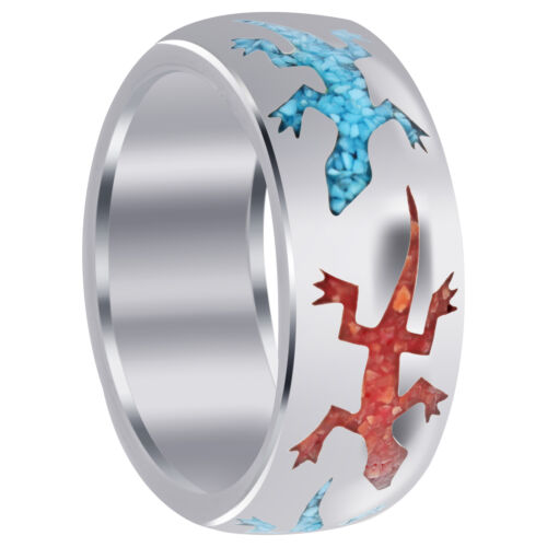 Men/'s 925 Sterling Silver Turquoise and Coral Inlay Lizard Pattern 9mm Band