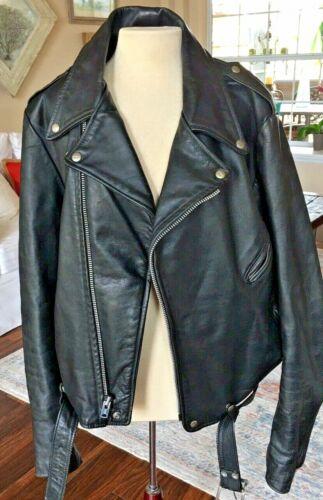 Vintage Brooks Leather Motorcycle Jacket Size 46