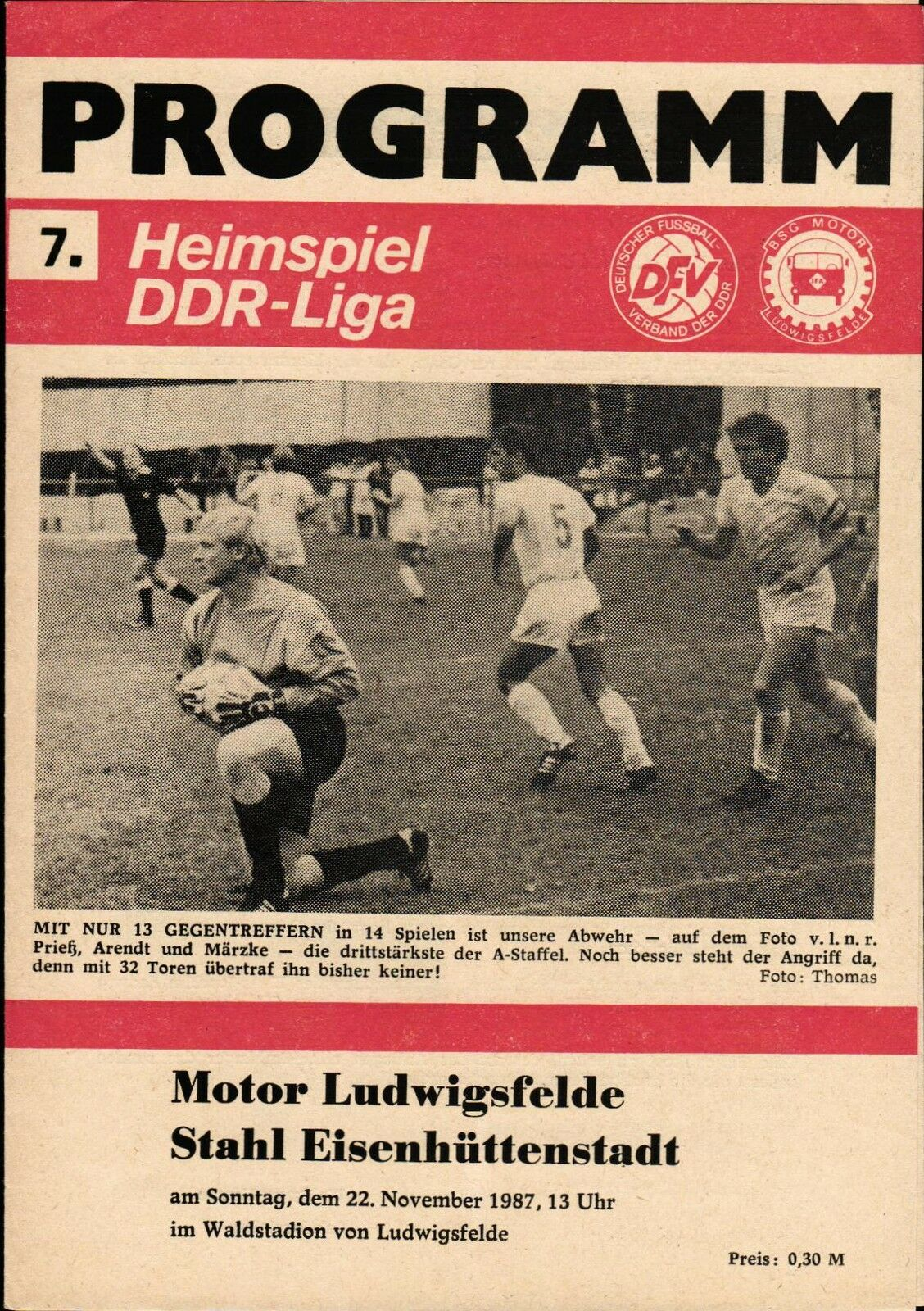 DDR-Liga 87/88 BSG Moteur Moteur Moteur Windsor - Acier Eisenhüttenstadt, 22.11.1987 1a4e72