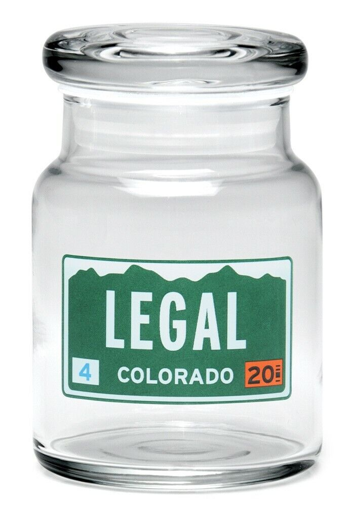 """420 Science Brand 3.5"""" Glass Herb Spice Coin Stash Pop Top Jar Legal Plate 1"""