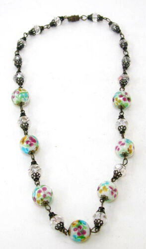 Antique Glass Necklace Victorian Crystal Beads With Silver Fern Clasp Facetted Clear Beads