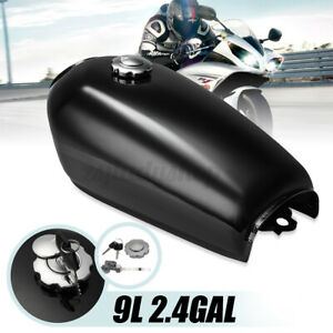 Motorcycle 9L 2.4GAL Glossy Fuel Gas Tank Cap Switch For Honda CG125 Cafe Racer
