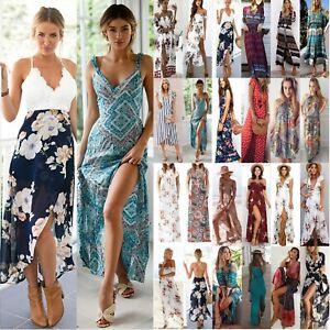7f2f13de9c0 Chargement de l image en cours Femmes-Ouverture-Robe-Maxi-Longue-Ete-Plage -Cocktail-