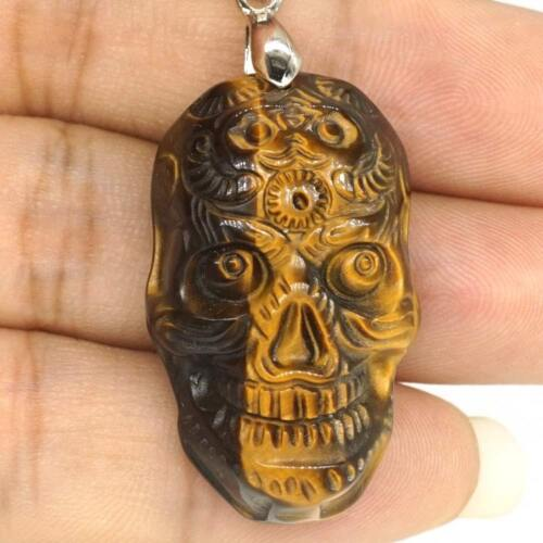 Skull Figurine Pendant Natural Gemstone Yellow Tiger Eye Carved Necklace Jewelry