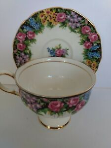 RARE-PARAGON-034-OLD-ENGLISH-GARDEN-034-WIDE-MOUTH-TEA-CUP-AND-SAUCER