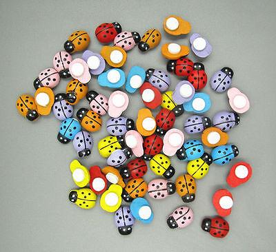 NEW 100pcs Wooden 3D art Ladybugs beetle fridge Wall Stickers 13mm*9mm
