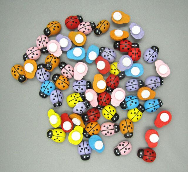 Free 100pcs Wooden 3D art Ladybugs beetle fridge Wall Stickers 13mm*9mm