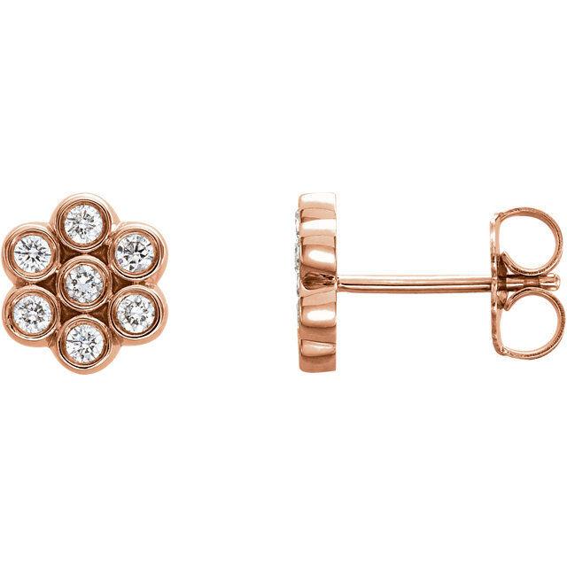 Diamond Cluster Stud Earrings In 14K pink gold (1 4 ct. tw.)