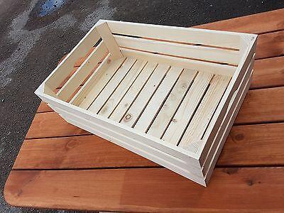 Nuovo Buona Qualità Crate 60x39x20cm Di Legno Naturale Di Frutta E Verdura-