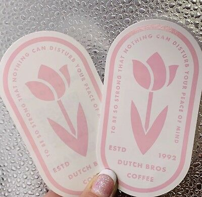 Dutch Bros Coffee October Sticker Of The Month 2018 Pink Flower pair set of 2
