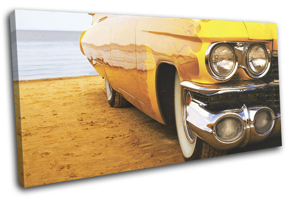 Vintage American Car Beach Transportation SINGLE TOILE murale ART Photo Print