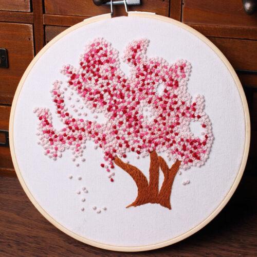 Tree Embroidery Starter Cross Stitch Kit Set Threads DIY Craft Home Decoration