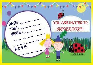 BEN HOLLY LITTLE KINGDOM BIRTHDAY PARTY INVITATIONS INVITES KIDS
