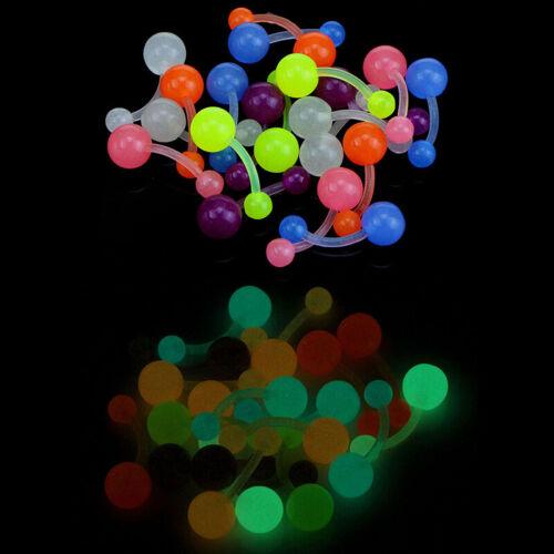 1Set Luminous Flexible Nabel Bars Ringe Bauchnabelpiercing Körperschmuck uo