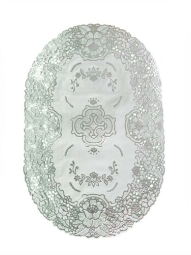 SILVER OVAL LACE EFFECT TABLE PLACE MATS HOME CHRISTMAS WEDDINGS TABLE DECOR