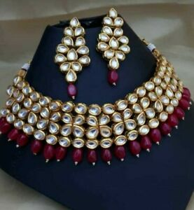 1fb8ac6ab6b52 Indian Bollywood Red Pearl Kundan Choker Necklace Earrings Fashion ...