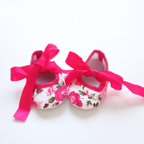 Newborn Infant Baby Girls Flower Soft Sole Crib Shoes Prewalker Trainer SZ 0-12M