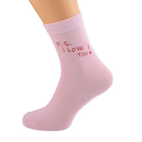 I Love You St-Valentin Design Ladie rose chaussettes UK 5-9 Femme P.S