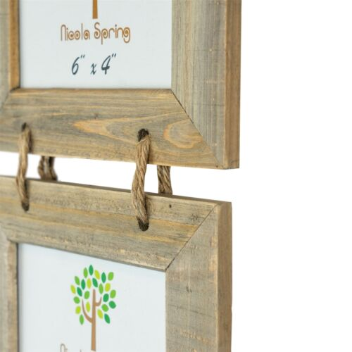 """Wooden Shabby Chic Rustic Driftwood Hanging 5 Photo Picture Frame-6x4/"""""""