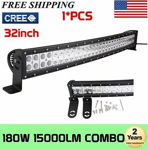 32inch 180W CREE LED Work Flood Combo Spot Light Bar Curved Offroad Jeep SUV UTE