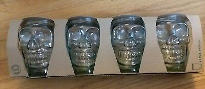 Awesome 4 SKULL San Miguel Glass Set Authentic 100/% Recycled Green Tint 400cc