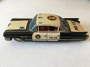 Vintage-10-Craqstan-Tin-Police-Car-Japan-Made-1950-s-Very-Rare-Great-Condition