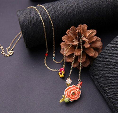 UK Necklace Golden Enamel Festival Red Flower Multicolored Flower Gold